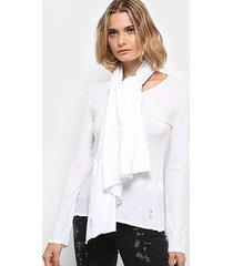 blusa cantão manga longa cachecol feminina