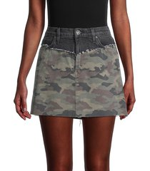 hudson women's camo-print denim mini skirt - dark grey - size 26 (2-4)
