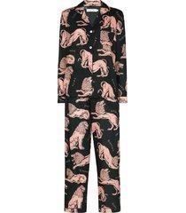 desmond & dempsey lion print pajama set - green