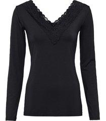 maglia a maniche lunghe con pizzo in tencel™ lyocell (nero) - bodyflirt