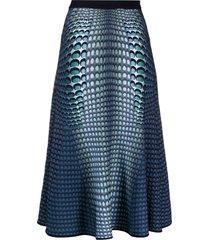 marine serre moonfish skin jacquard-knit skirt - blue