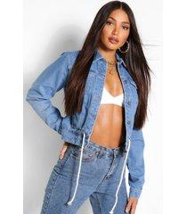 tall denim ruched waist tie jean jacket, mid blue