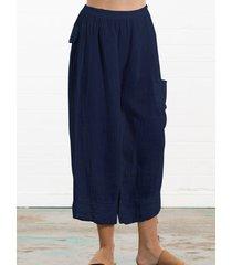 pantaloni tasconi con tasche elastiche in vita tinta unita vintage