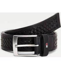tommy hilfiger men's braided leather belt black - 34