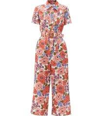 poppy floral-print linen jumpsuit
