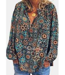 camicetta da donna con colletto alla coreana manica lunga stampata vintage
