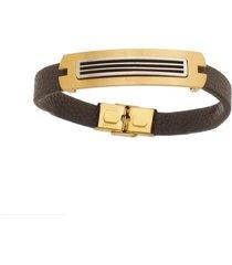 bracelete de aço inox tudo jóias com 12mm de largura gold