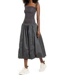 amy lynn tie shoulder midi dress, size medium in dark grey at nordstrom