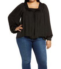 plus size women's halogen washed satin long sleeve top, size 2x - black