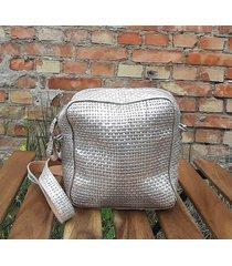 srebrno miedziana mała skórzana torebka