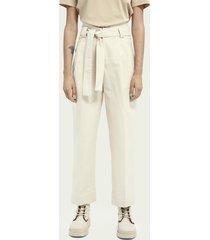 scotch & soda high-rise twill trousers ─ ecru
