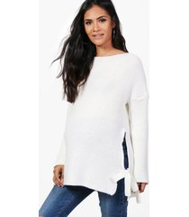 maternity tie side sweater, ivory