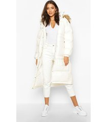 tall longline faux fur hood padded coat, pearl