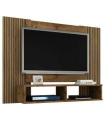 painel navi p/ tvs até 47 polegadas madeira rústica/ripado móveis bechara marrom