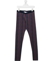 little marc jacobs teen all-over logo trousers - blue