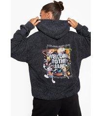 oversized acid wash gebleekte space jam hoodie, black
