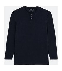 camiseta pijama manga longa com gola henley | viko | azul | gg