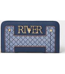river island womens blue 'river' monogram zip around purse