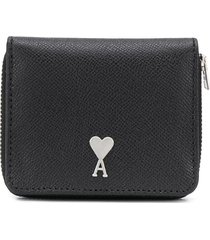 ami paris zip-around leather wallet - black