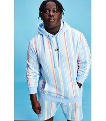 tommy hilfiger men's organic cotton stripe hoodie light powdery blue / stripe - 5xl