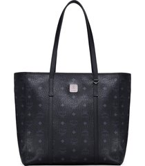 mcm medium toni visetos coated canvas shopper - black