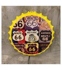 enfeite decorativo tampa luminária route 66 plástico amarelo