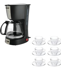 kit 1 cafeteira mallory filtro permanente 220v e 1 jogo de 6 xícaras 90ml com pires - tricae
