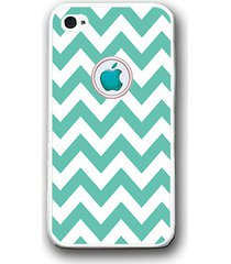 mint white chevron apple logo iphone case - rubber silicone iphone 5 case