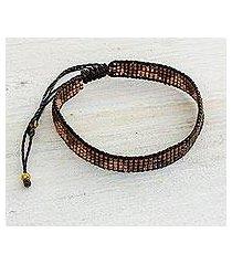 beaded wristband bracelet, 'rejoice in the earth' (guatemala)