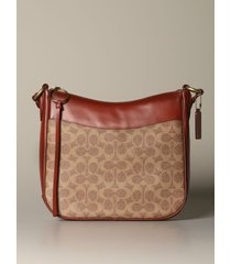 coach shoulder bag chaise coach shoulder bag in leather and coated canvas with logo