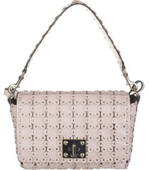 flower puzzle shoulder bag in nude smooth leather