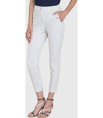 pantalón ash fantasía con cierre en bolsillos blanco - calce ajustado