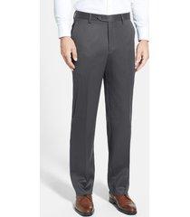 men's berle flat front classic fit wool gabardine dress pants, size 36 x 30 - grey
