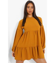 gesmokte jurk met lange mouwen, mustard