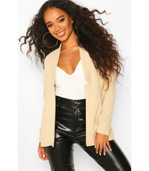 petite notch detail oversized blazer, stone