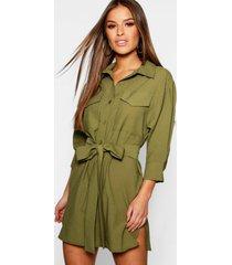 petite utility blouse jurk, kaki