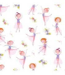 papel de parede bailarina e flores quarto de menina 57x270cm - multicolorido - dafiti