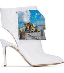 natasha zinko beach trash logo ankle boots - white