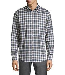 theory men's irving betton plaid shirt - crimson - size m