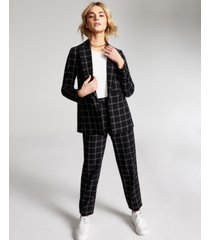 bar iii windowpane pull-on pants, created for macy's