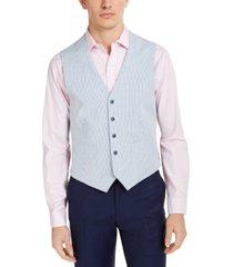 tommy hilfiger men's modern-fit th flex stretch blue/white seersucker stripe vest