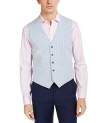tommy hilfiger men's modern-fit th flex stretch blue/white seersucker stripe vest