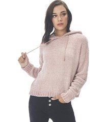 sweater hoodie chenille ecru corona