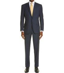 men's big & tall canali sienna pinstripe soft classic fit wool suit