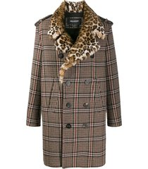 double breasted check print coat