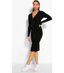 geribbelde midi jurk met knopen en ceintuur, zwart