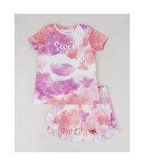 "pijama infantil  sweet dreams"" estampado tie dye manga curta multicor"""