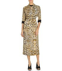 sable raso leopard-print midi dress