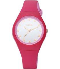 santa clara - orologio cinturino rosa in policarbonato, quadrante silver per donna