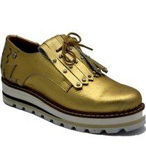 zapato de cuero dorado leblu abotinado